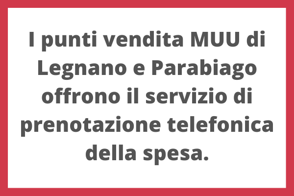 Servizio di spesa telefonica al MUU di Legnano e Parabiago