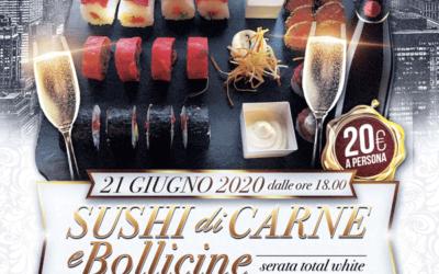 Serata Total White con sushi di carne e bollicine