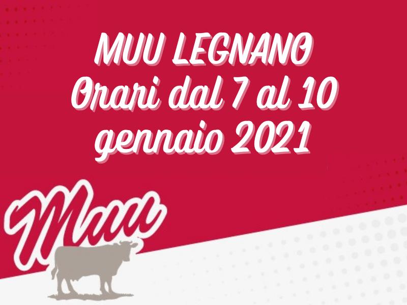 Orari dal 7 al 10 Gennaio 2021 – MUU Legnano